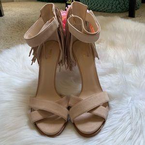 "Nine West ""Hustle"" nude leather fringe heels 9 1/2"